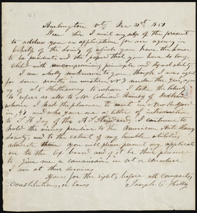 Letter from Joseph Cephas Holly, Burlington, Vt, to William Lloyd Garrison, Dec. 31st, 1851