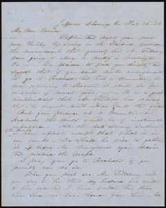 Letter from Abby Kelley Foster, Jefferson, Chemung Co[unty], N.Y., to William Lloyd Garrison, Feb. 16, [18]52