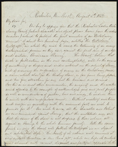 Letter from Julia Griffiths, Rochester, New York, to William Lloyd Garrison, August 5th, 1852