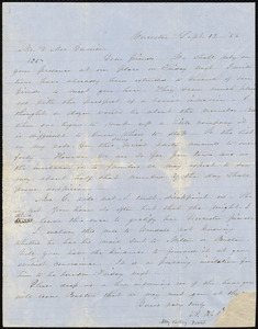 Letter from Abby Kelley Foster, Worcester, [Mass.], to Helen Eliza Garrison, and William Lloyd Garrison, Sept. 12, [18]54