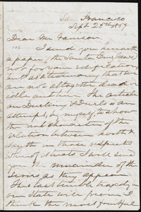 Letter from Eliza Wood Farnham, San Francisco, [Calif.], to William Lloyd Garrison, Sept. 25th, 1859