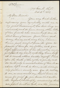 Letter from Mary Grew, 1709 Green St[reet], Phil[adelphi]a, [Pa.], to William Lloyd Garrison, Oct. 2nd, 1862