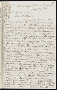 Letter from Henry Clarke Wright, Millbridge, Maine, to William Lloyd Garrison, Friday, July 10 / [18]68