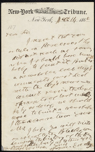 Letter from Horace Greeley, New York, to William Lloyd Garrison, Sept. 11, 1868