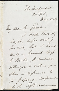 Letter from Theodore Tilton, New York, to William Lloyd Garrison, March 31, 1870