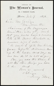 Letter from Lucy Stone, Boston, [Mass.], to William Lloyd Garrison, Feb. 9, 1872