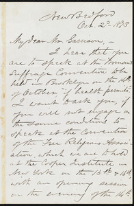 Letter from William James Potter, New Bedford, [Mass.], to William Lloyd Garrison, Oct. 2'd, 1873