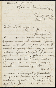 Letter from George Washington Milford, Brown University, Prov[idence], R.I., to William Lloyd Garrison, Feb. 6, 1875