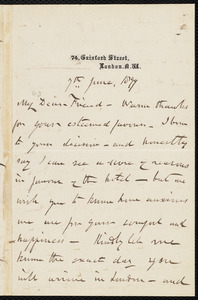 Letter from Henry Vincent, 74 Gaisford Street, London, [England], to William Lloyd Garrison, 7th June 1877