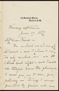 Letter from Henry Vincent, 74 Gaisford Street, London, [England], to William Lloyd Garrison, June 17, 1877
