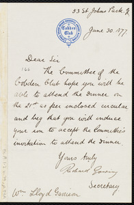 Letter from Richard Gowing, 53 St. Johns Park, N., [London, England], to William Lloyd Garrison, June 30, 1877