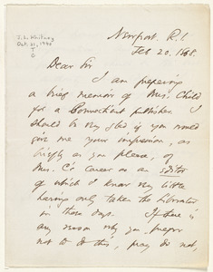 Letter from Thomas Wentworth Higginson, Newport, R.I., to William Lloyd Garrison, Feb. 20, 1868