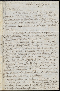 Letter from Samuel May, Boston, to John Bishop Estlin, May 29, 1847