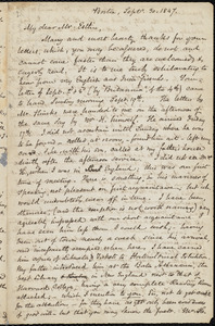 Letter from Samuel May, Boston, to John Bishop Estlin, Sept. 30, 1847 and October 1st