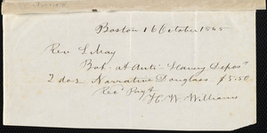 Memoranda from Samuel May, [Boston?], May 21, 1845; 16 October, 1845; 1846