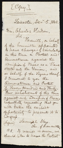 Copy of a letter from Samuel May, Leicester, [Mass.], to Charles Hudson, Dec. 5, 1845