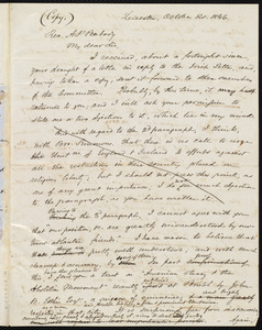 Copy of a letter from Samuel May, Leicester, to Andrew Preston Peabody