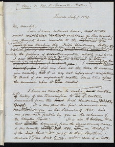 Copy of a letter from Samuel May, Leicester, [Mass.], to Ezra Stiles Gannett, July 7, 1847