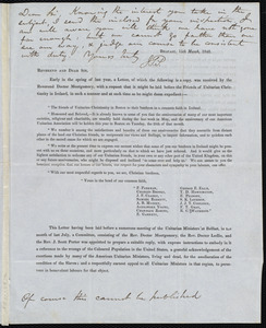 Letter from John Scott Porter, Ireland, to James Haughton and Samuel May, [1848]