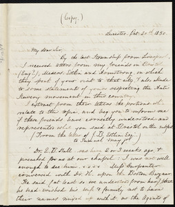 Copy of a letter from Samuel May, Leicester, Mass., to Edward Brooks Hall, [Oct. 20th, 1850?]