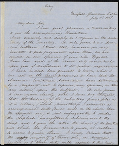 Copy of a letter from Joseh Hutton to Samuel May, [1851?]