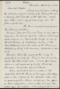 Copy of a letter from Samuel May, Leicester, [Mass.], to Daniel Foster, April 29, 1853
