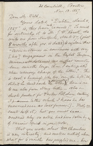Letter from Samuel May, Boston, to Richard Davis Webb, Nov. 13, 1857