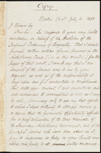 Copy of a letter from Samuel May, Boston, to J. Brown, July 6, 1858