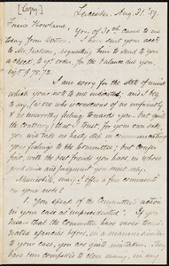 Copy of a letter from Samuel May, Leicester, [Mass.], to Joseph Avery Howland, [Aug. 31?] '59