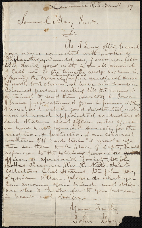 Letter from John Doy, Lawrence, K.S., to Samuel May, January 59