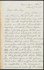 Letter from Mary Grew, Germantown, Philadelphia, to Samuel May, March 7th, 1865