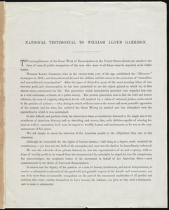 National testimonial to William Lloyd Garrison, Boston, April 25, 1866