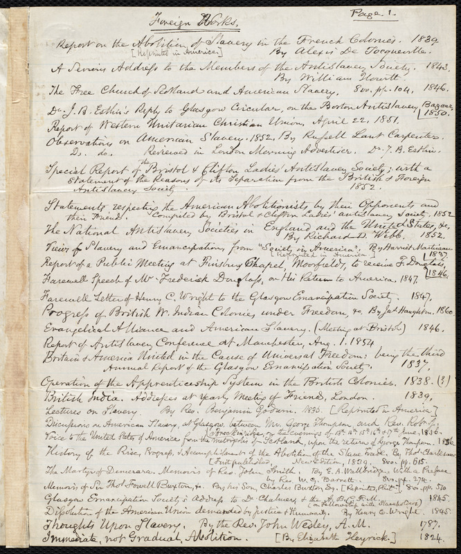 Bibliography by Samuel May, [after 1862]