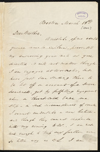 Letter from Wendell Phillips, Boston, to Samuel May, March 18th, [1842]