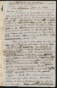 Copy of a letter from Samuel May, Geneva, to George Armstrong, [Oct. 9, 1843?]