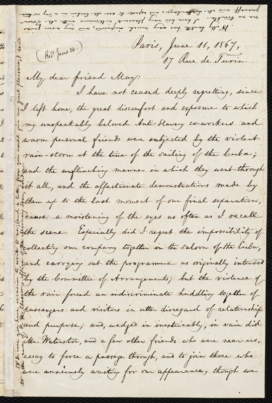 Letter from William Lloyd Garrison, Paris, to Samuel May, June 11, 1867