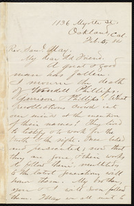 Letter from Nathan Robinson Johnston, Oakland, Calif., to Samuel May, Feb. 5, 84