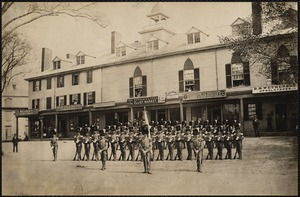 Claflin guards in front of old Nonantum House. Shops: Stiles & Co., stoves & furnaces. H. N. Gleason, grocer. Atwood & Eaton, Elliot Market. Richardson's Boston Express. Joseph M. Briggs, house & sign painter. B. S. Wetherbee, upholsterer. Newton Corner, Newton, MA