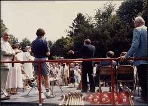 Groundbreaking. Mayor Mann at microphone (rear view)