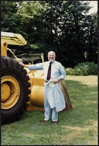 Groundbreaking. Alan Rosenfeld w/ bulldozer