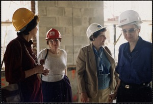 Construction. Inside: staff tour: N. Perlow, S. Abrams, V. Tashjian, Ann Shirley