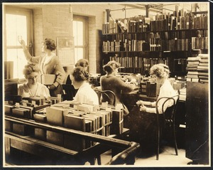 Newton Free Library, Old Main, Centre St. Newton, MA. Old Main, interior., 2nd fl., librarians at work