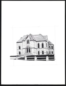 Newton Free Library, Old Main, Centre St. Newton, MA. Copy, original drawing (1870) of Old Main
