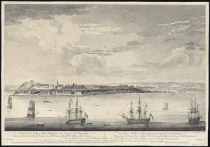 A view of the city of Quebec, the capital of Canada, taken partly from the Pointe des Peres, and partly on board the Vanguard Man of War =