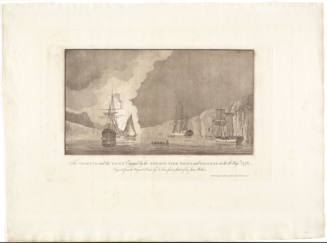 The Phoenix and the Rose engaged by the enemy's fire ships and galleys on the 16 Augst. 1776
