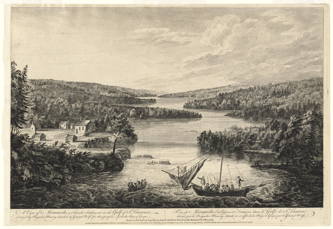 A view of Miramichi, a French settlement in the Gulf of St. Laurence, destroyed by Brigadier Murray detached by General Wolfe for that purpose, from the Bay of Gaspe =