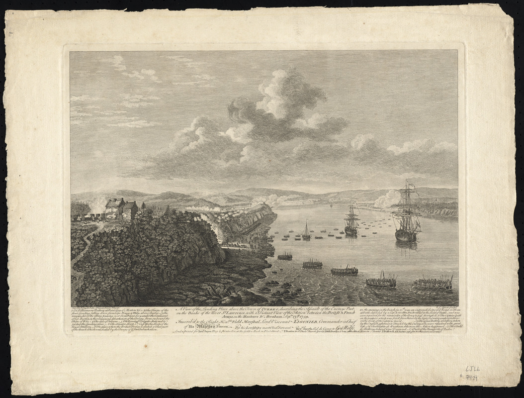 A view of the landing place above the town of Quebec, describing the assault of the enemys post, on the banks of the River St. Lawrence, with a distant view of the action between the British & French armys, on the Hauteurs d'Abraham, Septr. 13th 1759