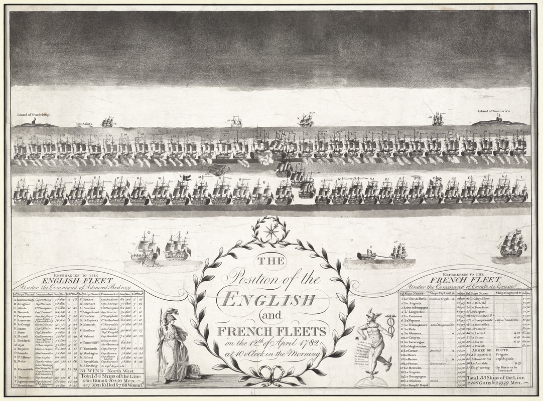 The position of the English and French fleets on the 12th of April 1782 at 10 oclock in the morning