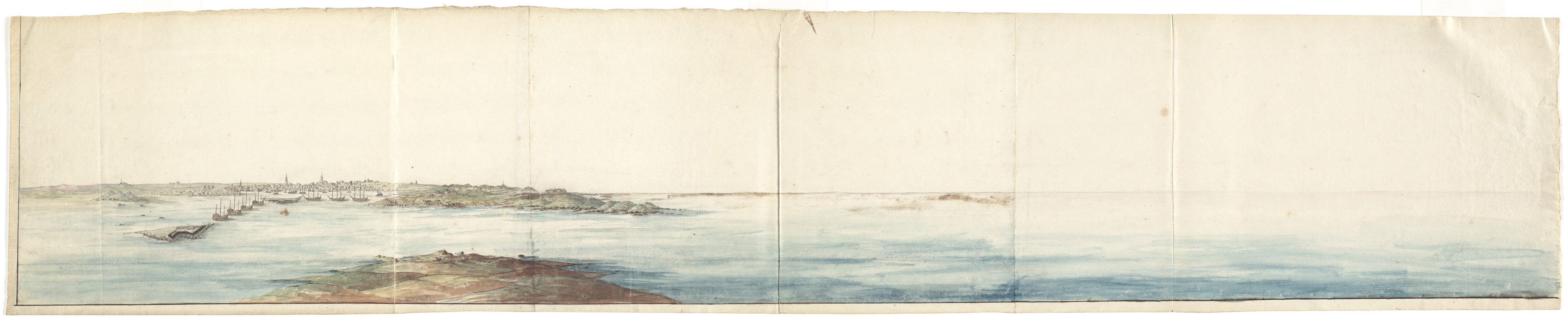 [Panoramic view of Newport, Rhode Island and the harbor showing the position of the French fleet and troop encampments]