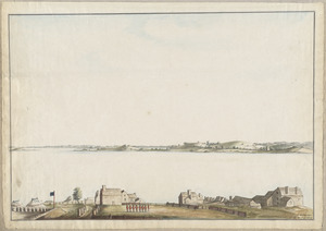 [Troops on parade, the Charles River and Castle Island]